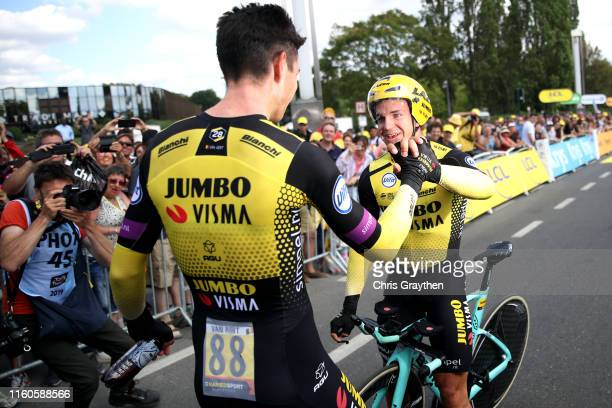 Arrival / Wout Van Aert of Belgium and Team Jumbo-Visma / Dylan Groenewegen of The Netherlands and Team Jumbo-Visma / Celebration / during the 106th...