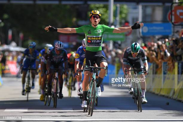 Arrival / Wout Van Aert of Belgium and Team Jumbo-Visma Green Points Jersey / Celebration / Sam Bennett of Ireland and Team Bora-Hansgrohe / Julian...