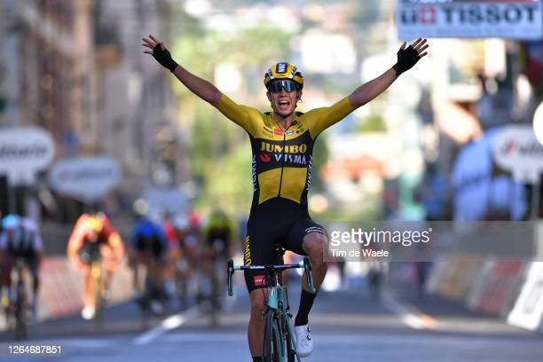 Arrival / Wout Van Aert of Belgium and Team Team Jumbo - Visma / Celebration / during the 111st Milano - Sanremo 2020 a 305km race from Milano to...