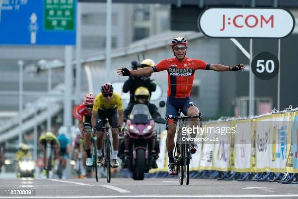 Arrival / Yukiya Arashiro of Japan and Team Bahrain-Merida Tour of France Japan Rider Celebration / Egan Bernal of Colombia and Team INEOS Yellow...