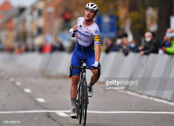 Arrival / Yves Lampaert of Belgium and Team Deceuninck - Quick-Step / Celebration / during the 44th Driedaagse Brugge - De Panne 2020, Men Classic a...