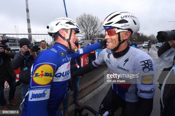 Arrival / Yves Lampaert of Belgium and Team Quick-Step Floors / Celebration / during the 73rd Dwars door Vlaanderen 2018 a 180,1km race from...