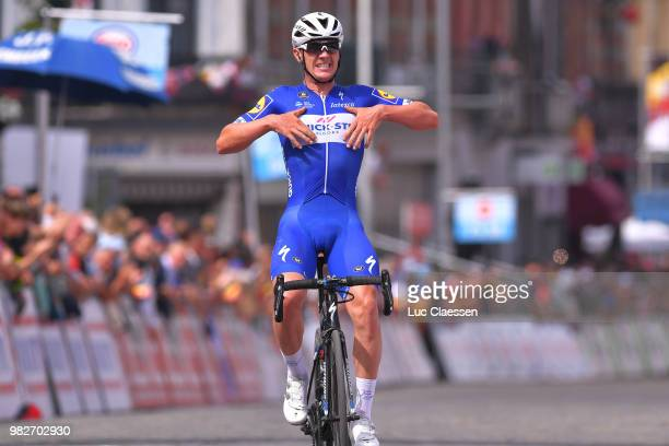 Arrival / Yves Lampaert of Belgium and Team Quick-Step Floors / Celebration / during the 119th Belgian Road Championship 2018, Elite Men a 223,6km...