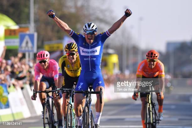 Arrival / Zdeněk Štybar of Czech Republic and Team Deceuninck - Quick-Step Celebration / Alberto Bettiol of Italy and Team Ef Education First / Greg...