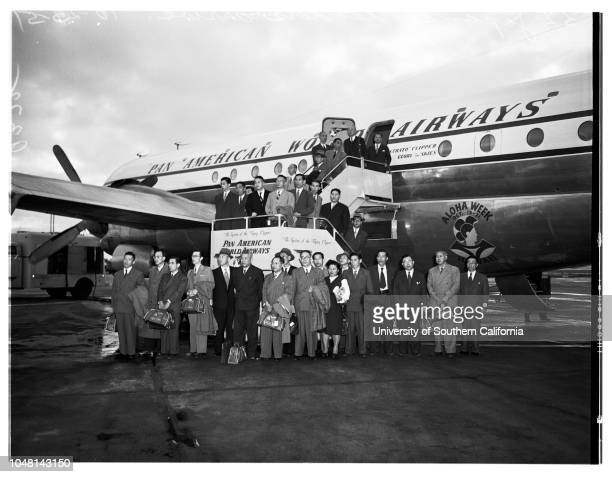 Arrivals 25 October 1951 Thirtytwo Japanese Leaders arrive in Los Angeles Supplementary material reads 'From News Bureau Pan American Airways Foto...