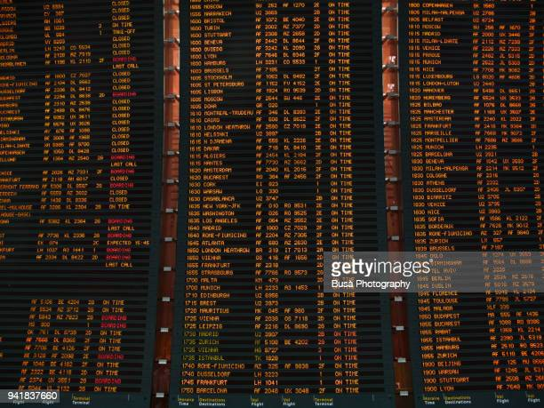Arrivals and Departures Timetable inside the Charles de Gaulle airport in Paris