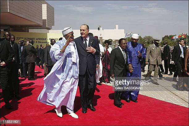 Arrivals And Opening Ceremony At The 23Rd AfricanFrench Summit On December 3Rd 2005 In Bamako Mali Here President Of Senegal Abdoulaye Wade French...