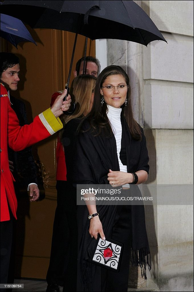 Arrivals At The Evening In Honour Of The Wedding Of Prince Frederik And Mary Donaldson At The Amalienborg Palace In Copenhagen, Denmark On May 13, 2004. : News Photo