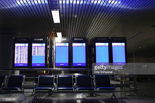 Arrivals boards are blank in the baggage claim level at LambertSt Louis International Airport April 23 2011 in St Louis Missouri The airport is...