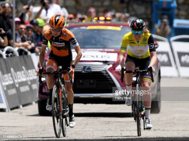 Arrivals / Celebration / Sprint / Katie Hall of the United States riding for Boels Dolmans Cycling Team / Anna Van Der Breggen of The Netherlands...