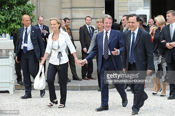 Arrivals In The Elysee Court For The Garden Party In Paris France On July 14 2008 Christine Ockrent and Bernard Kouchner