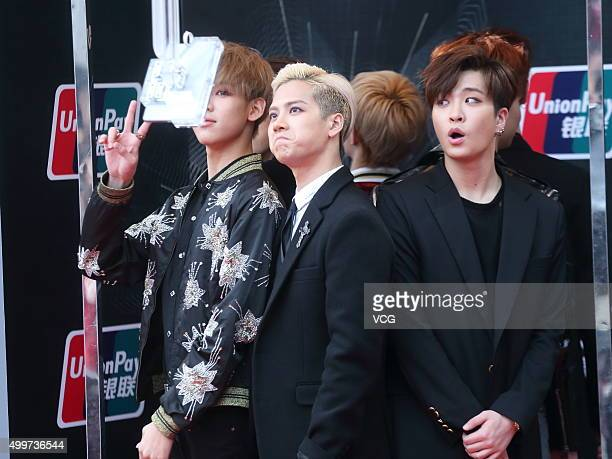 GOT7 arrive at the red carpet of the 2015 Mnet Asian Music Awards at AsiaWorldExpo on December 2 2015 in Hong Kong Hong Kong