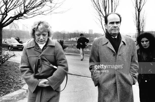 Arrivée de Georges Marchais accompagné de son épouse Liliane au 25e congrès du PCF à SaintOuen France le 7 février 1985