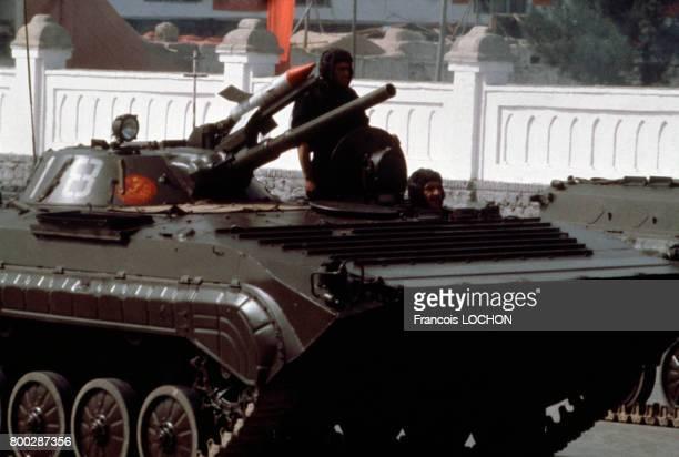 Arrivée de l'armée soviétique à Kaboul, Afghanistan, en avril 1979.