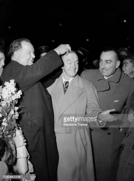 Arrivée de Laurel et Hardy à la gare du Nord de Paris le 29 octobre 1947 en france
