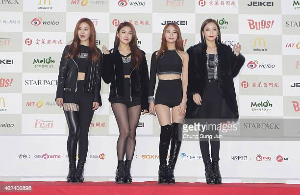 KARA arrive for the 4th Gaon Chart KPOP Awards at the Olympic Park on January 28 2015 in Seoul South Korea