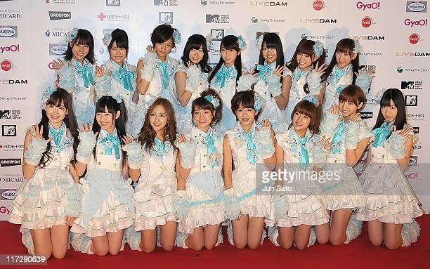AKB 48 arrives at MTV Video Music Aid Japan at Makuhari Messe on June 25 2011 in Chiba Japan