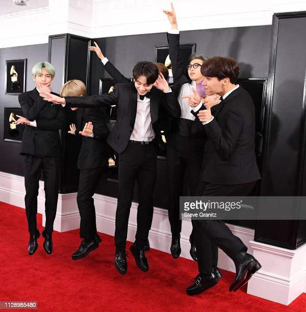BTS arrives at the 61st Annual GRAMMY Awards at Staples Center on February 10 2019 in Los Angeles California