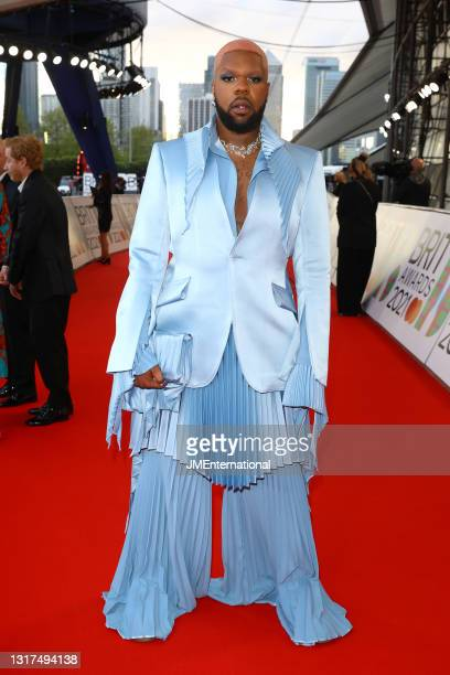 Arrives at The BRIT Awards 2021 at The O2 Arena on May 11, 2021 in London, England.