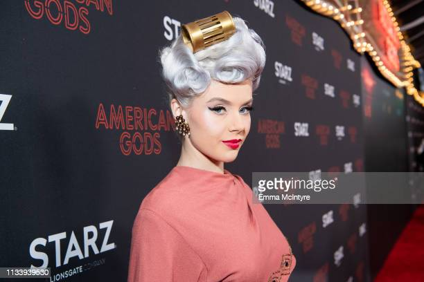Arrives at the premiere of STARZ's 'American Gods' Season 2 at Ace Hotel on March 05, 2019 in Los Angeles, California.