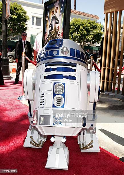 R2D2 arrives at the premiere of Warner Bros Picture's 'Star Wars The Clone Wars' at the Egyptian Theatre on August 10 2008 in Los Angeles California