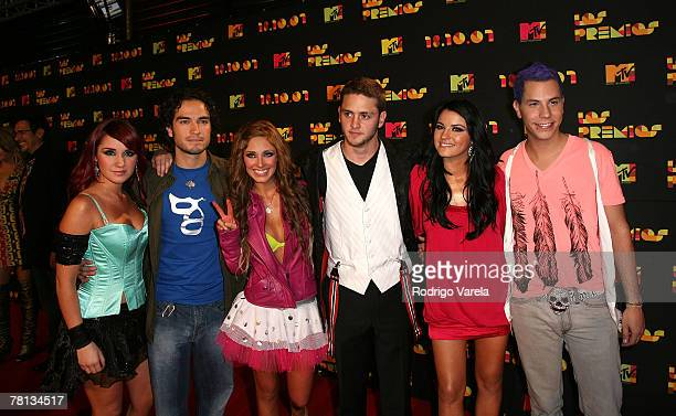 RBD arrives during Los Premios MTV Latin America 2007 at El Palacio de Los Deportes on October 18 2007 in Mexico City Mexico