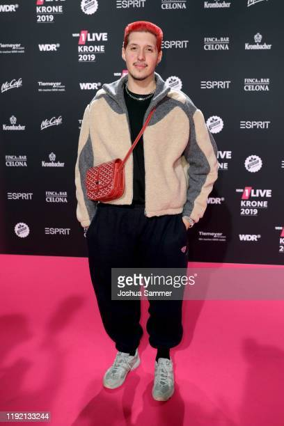Arrives for the 1Live Krone radio award at Jahrhunderthalle on December 05, 2019 in Bochum, Germany.