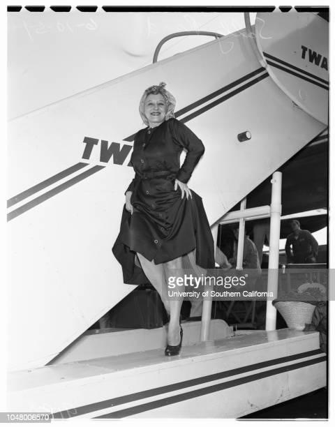 Arrives in Los Angeles enroute to Anchorage Alaska June 10 1951 Sally RandMore descriptive information with originals