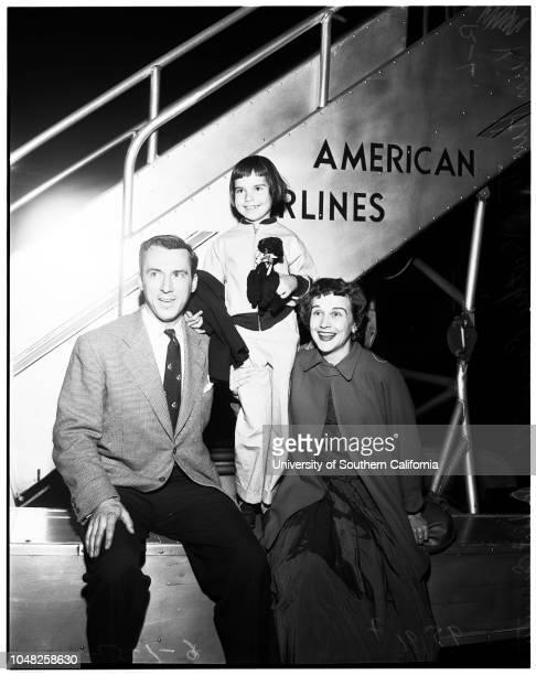 Arrives in New York 1 June 1952 Kim Hunter Kathy Emmett 7 years Robert Emmett Supplementary material reads 'From Arthur P Jacobs 360 North Bedford...