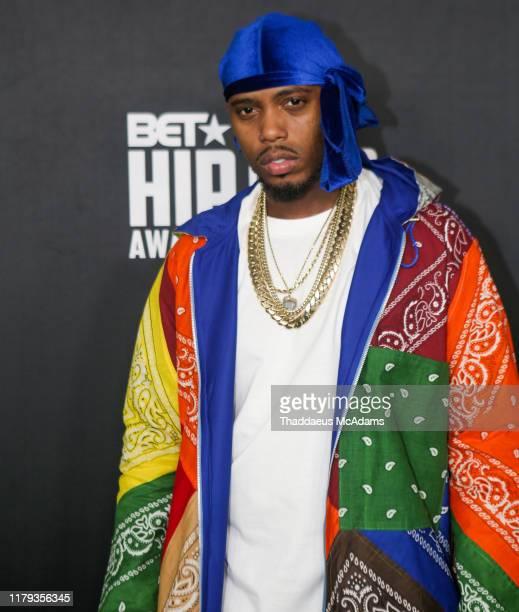 B arrives to the 2019 BET Hip Hop Awards on October 05 2019 in Atlanta Georgia