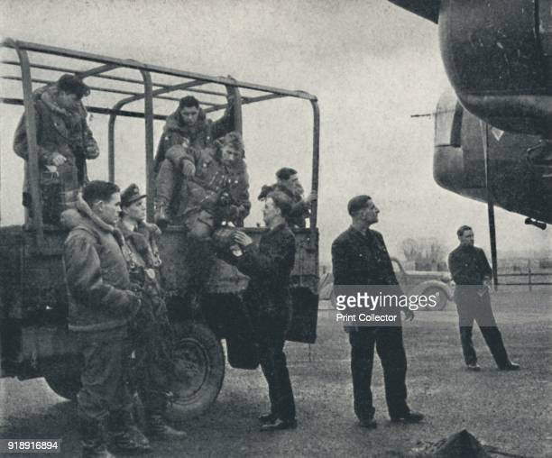 'Arriving' 1941 Aircrew arrive on the airfield From Air of Glory by Cecil Beaton [His Majesty's Stationery Office London 1941]Artist Cecil Beaton