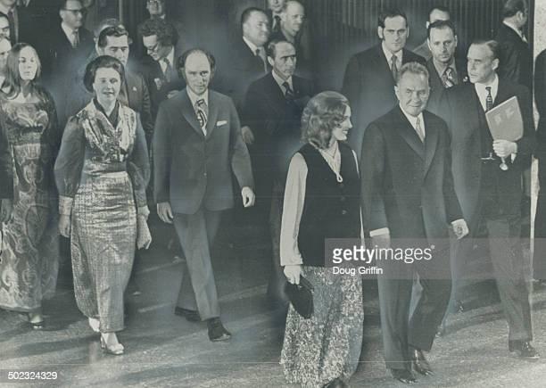 Arriving at gala concert held in his honor at Ottawa's National Arts Centre last night Soviet Premier Alexei Kosygin walks beside Mrs Margaret...
