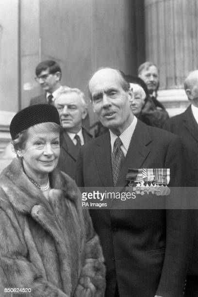 Arriving at St Paul's Cathedral in London to attend a service of Thanksgiving for the life of Sir Barnes Wallis inventor of the bouncing bomb used by...