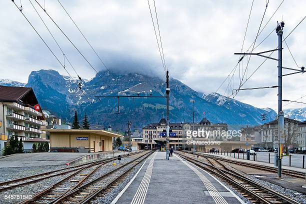 arriving by rail to engelberg. - crmacedonio stock photos and pictures