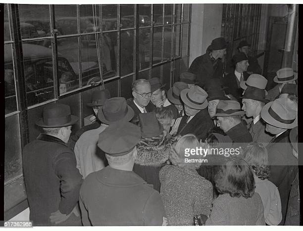 Arriving from Lisbon, Portugal, on the Pan-American Dixie Clipper today, Joseph P. Kennedy, United States Ambassador to Great Britain, is shown being...
