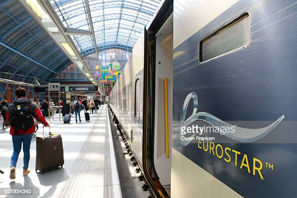arriving from Paris into London's St. Pancras Station on the Eurostar train