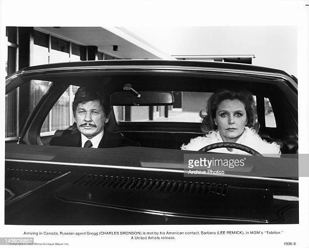 Arriving in Canada Russian agent Charles Bronson is met by his American contact Lee Remick in a scene from the film 'Telefon' 1977