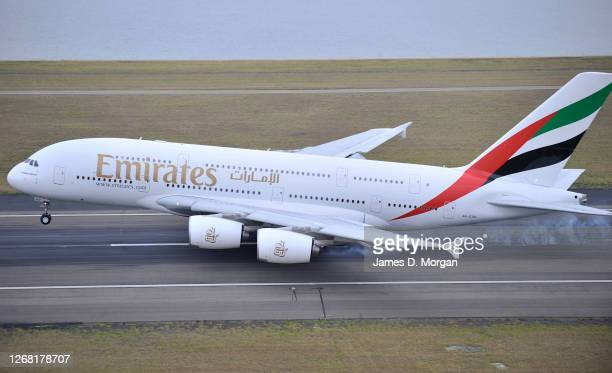 Arriving into Sydney's International Airport after its very first flight from Dubai to Sydney and onto Auckland, New Zealand