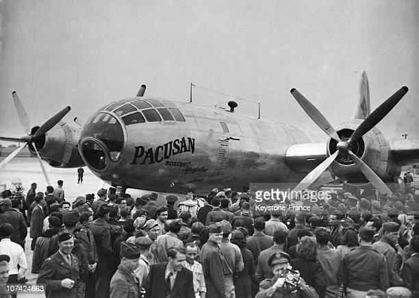 Arriving Of The B 29 Superfortress Called The Pacausan Dreamboat At The Airport At Paris Orly In France On 1946