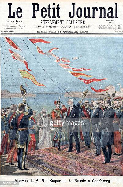 Arriving of the russian emperor in Cherbourg is an engraving by H Meyer representing Felix Faure President of the french republic receiving Nicolas...