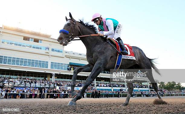 Arrogate crosses the finishline to win the $12 Million Pegasus World Cup Invitational at Gulfstream Park on January 28 2017 in Hallandale Florida