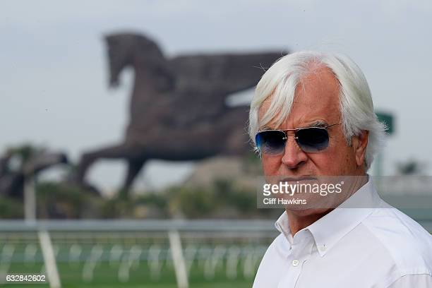 Arrogate trainer Bob Baffert looks on before an exercise session prior to the $12 Million Pegasus World Cup at Gulfstream Park on January 27 2017 in...