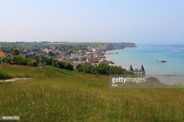 Arromanches-les-Bains with mulberry harbour ruins, in the french Normandy (Calvados, France)