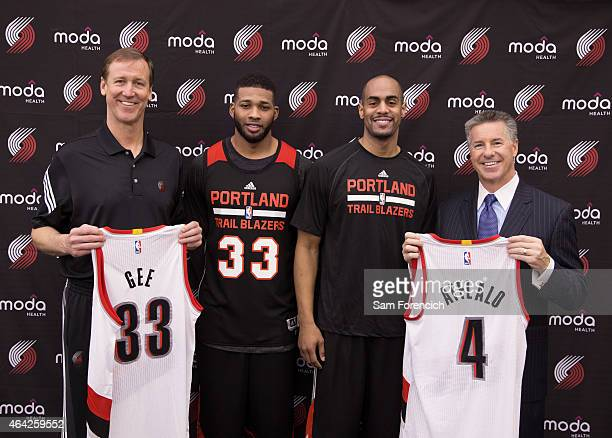 Arron Afflalo and Alonzo Gee of the Portland Trail Blazers are introduced to the media by Head Coach Terry Stotts and General Manager Neil Olshey on...