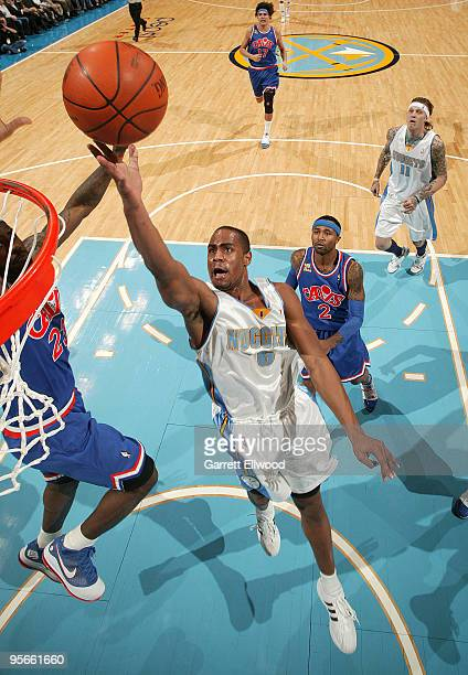 Arron Afflalo of the Denver Nuggets goes to the basket against the Cleveland Cavaliers on January 8 2010 at the Pepsi Center in Denver Colorado NOTE...