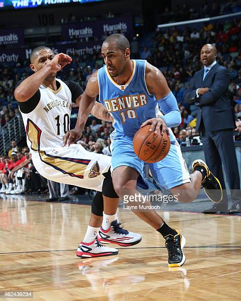 Arron Afflalo of the New Orleans Pelicans handles the ball against the New Orleans Pelicans on January 28 2015 at Smoothie King Center in New Orleans...