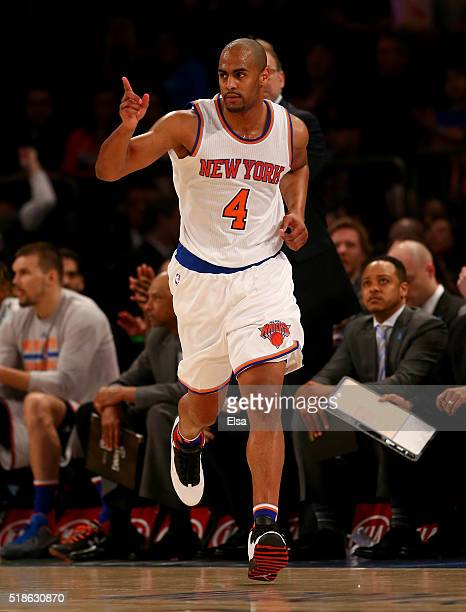 Arron Afflalo of the New York Knicks celebrates his shot in the second half against the Brooklyn Nets at Madison Square Garden on April 1 2016 in New...