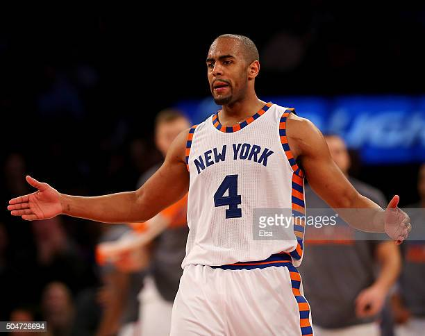 Arron Afflalo of the New York Knicks celebrates in the second half against the Boston Celtics at Madison Square Garden on January 12 2016 in New York...