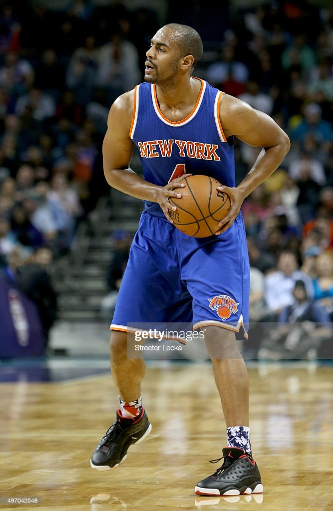 Arron Afflalo #4 of the New York Knicks during their game at Time Warner Cable Arena on November 11, 2015 in Charlotte, North Carolina.
