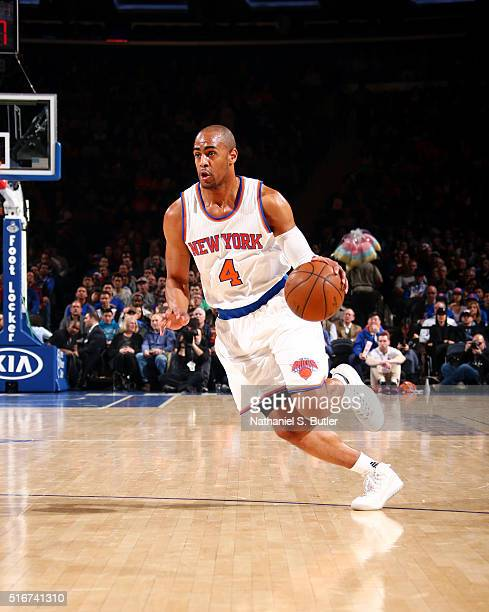 Arron Afflalo of the New York Knicks handles the ball against the Sacramento Kings on March 20 2016 at Madison Square Garden in New York City New...